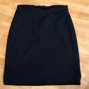 Navy blue pencil skirt with gold zipper!